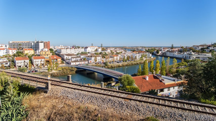 Aerial. The town of Tavira on the River Arade and railroad.