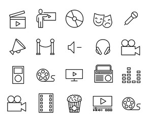 Simple collection of entertainment related line icons.