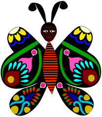 Vector Illustration of a Butterfly feeling Feminine. Colourful Butterfly with feminist beauty.