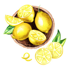 Fresh Lemons fruit in the platter top view composition. Watercolor hand drawn illustration