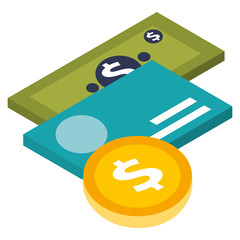 money coin credit card and banknote isometric vector illustration