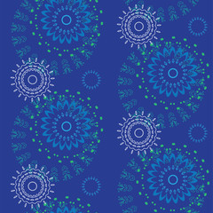 Abstract Seamless geometrical pattern with floral background