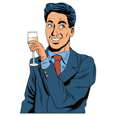 Man with champagne cup pop art icon vector illustration graphic design