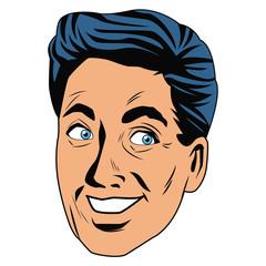 Man face pop art cartoon icon vector illustration graphic design
