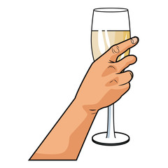 Hand with champagne cup pop art icon vector illustration graphic design