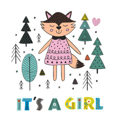 fox girl in the forest Scandinavian style. Poster,childish print, card - vector illustration, eps