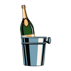 Champagne bottle in ice bucket icon vector illustration graphic design