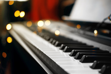 piano keys bokeh in the background