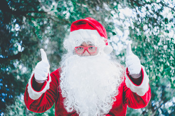 Portrait of santa claus,Thailand people,Sent happiness for children,Merry christmas,Welcome to winter