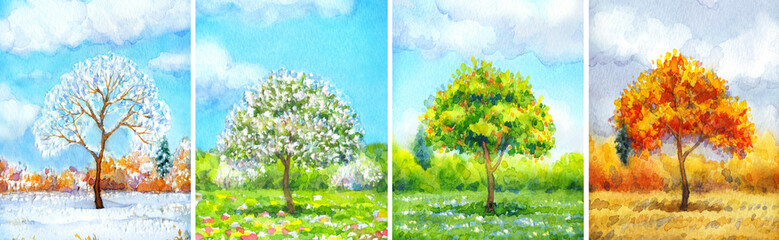 "Watercolor landscape of series ""Tree in different seasons"""