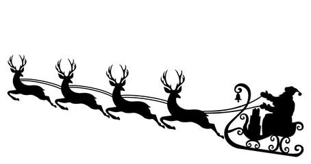 Santa and reindeer silhouette
