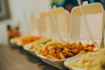 Group of more pasta and spaghetti packages. Fast food restaurant