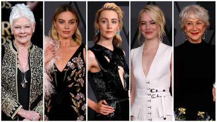 File combination photo shows nominees for the 75th Golden Globe Awards, Best Performance by an Actress in a Motion Picture, Musical or Comedy category, (L-R) Dench, Robbie, Ronan, Stone, and Mirren