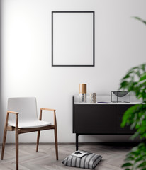 Mockup Poster in the interior, 3D illustration of a modern design