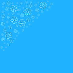 abstract floral frame on a blue background. For prints, greeting cards, invitations, wedding, birthday, party, Valentine's day.