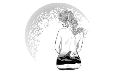 A romantic girl sits on the background of the moon.
