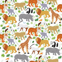 Seamless vector pattern with various animals on a white background