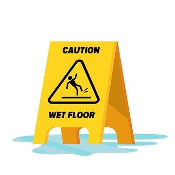 Wet Floor Vector. Classic Yellow Caution Warning Wet Floor Sign. Isolated Flat Illustration.