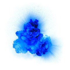 Realistic blue gas explosion with sparks over a white background
