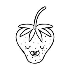 line cute strawberry kawaii funny fruit