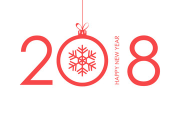 2018 Happy New Year text design with christmas ball and snowflake. Vector illustration.