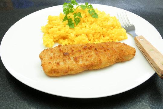 poisson pané et riz