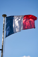 Flag of France (French: Drapeau français) is a tricolour flag featuring three vertical bands coloured blue (hoist side), white, and red.