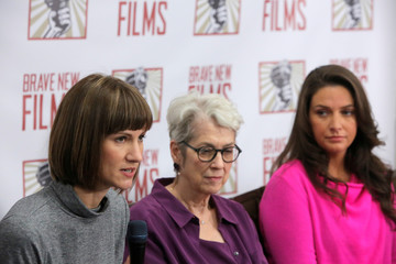 "Rachel Crooks, Jessica Leeds and Samantha Holvey speak at news conference for the film ""16 Women and Donald Trump"" in Manhattan, New York"