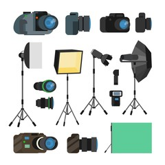 Photographer Tools Set Vector. Photography Objects. Photo Equipment Design Elements, Accessories. Modern Digital Cameras, Tools For Professional Studio Photography. Isolated Flat Cartoon Illustration