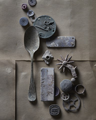 Metal shapes on paper