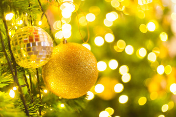 Christmas glitter ball with bokeh background