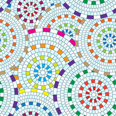 Abstract seamless pattern of geometric shapes. Circular mosaic.