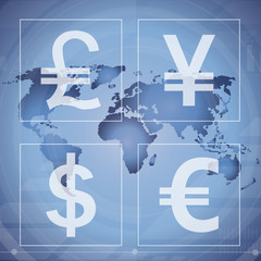 Money currency, dollar, yen, euro, pound isolated vector sign.