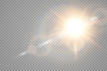 Vector transparent sunlight special lens flare light effect. Sun flash with rays and spotlight Wall mural