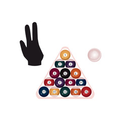 vector flat colored balls with numbers pyramid in wooden rack triangle, cue ball and black pool glove. Isolated illustration on a white background. Professional snooker set, pool billiard equipment
