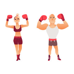 Couple of young Caucasian boxers, man and woman, raising arms in boxing gloves, flat vector illustration isolated on white background. Front view portrait of man and woman in boxing uniform, boxers