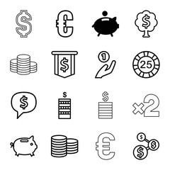 Set of 16 coin outline icons
