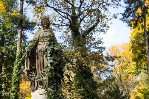 Statue Of Mary Mother Of God At Autumn Tree Backgroung Copy Space