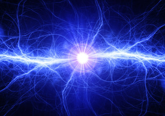 Blue electrical lightning bolt, plasma and electric power background