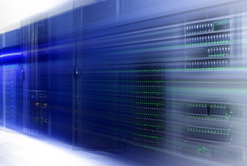 Data center with hard drives. Big data and speed motion concept