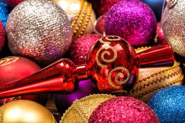 Beautiful bright New Year's toys of different colors close-up