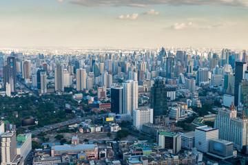 beautiful modern city of Bangkok with tall skyscrapers