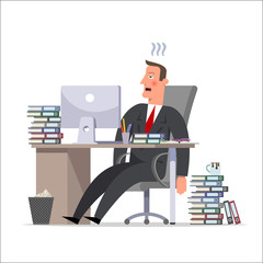 Cartoon character: a tired businessman or a clerk, helplessly leaning back in his chair. Burnout syndrome, stress.