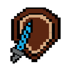 video game shield and sword items vector illustration pixelated image