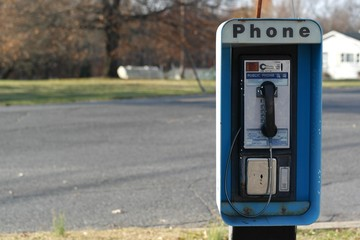 Pay phone on a rural road