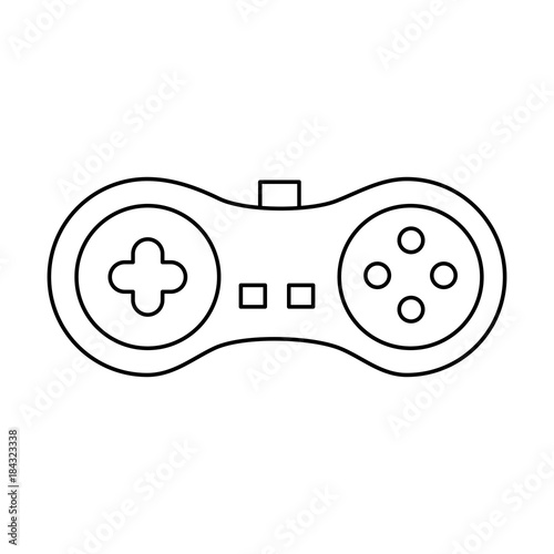 Video Game Console Joystick Control Buttons Vector Illustration - Video game outline