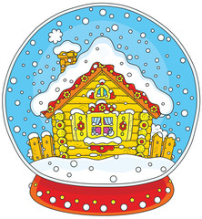 Vector illustration of a Christmas crystal ball with a snow-covered small log house and falling snow inside