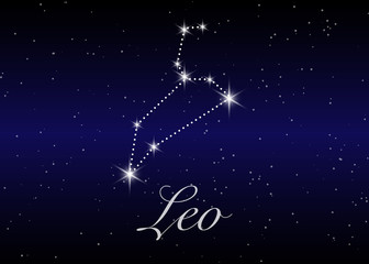 Leo zodiac constellations sign on beautiful starry sky with galaxy and space behind. Lion horoscope symbol constellation on deep cosmos background.