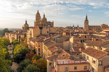 View over the small historic city of Segovia in central Spain