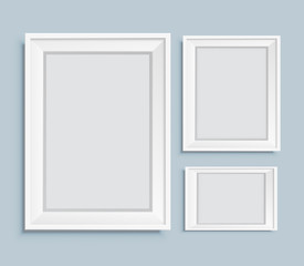 Realistic frames for picture. Wooden realistic frames set. Vector stock.